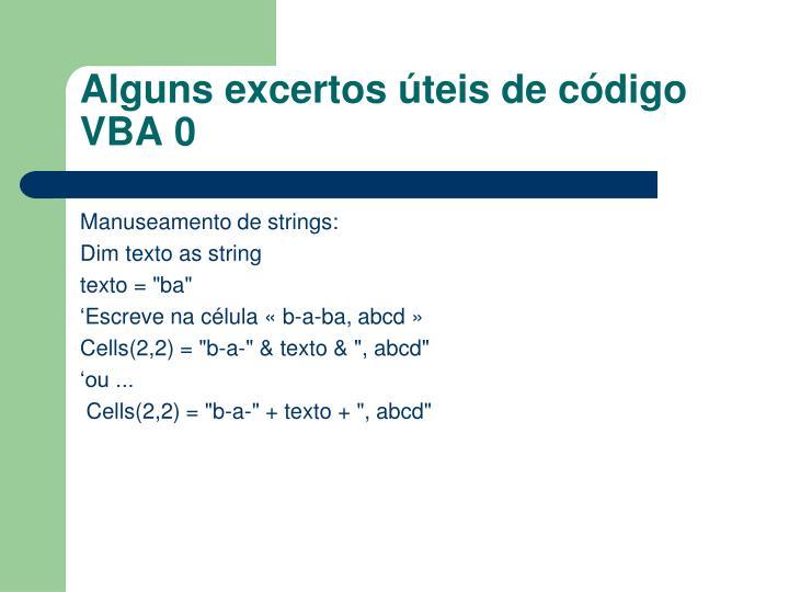 Alguns excertos úteis de código VBA 0