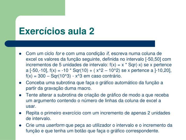 Exercícios aula 2