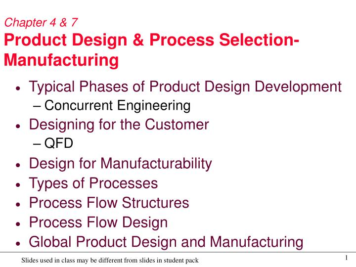 Ppt Chapter 4 7 Product Design Process Selection Manufacturing Powerpoint Presentation Id 6108759