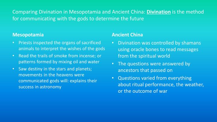 Comparing Divination in Mesopotamia and Ancient China: