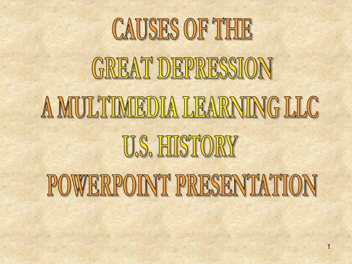a history of the causes of the great depression