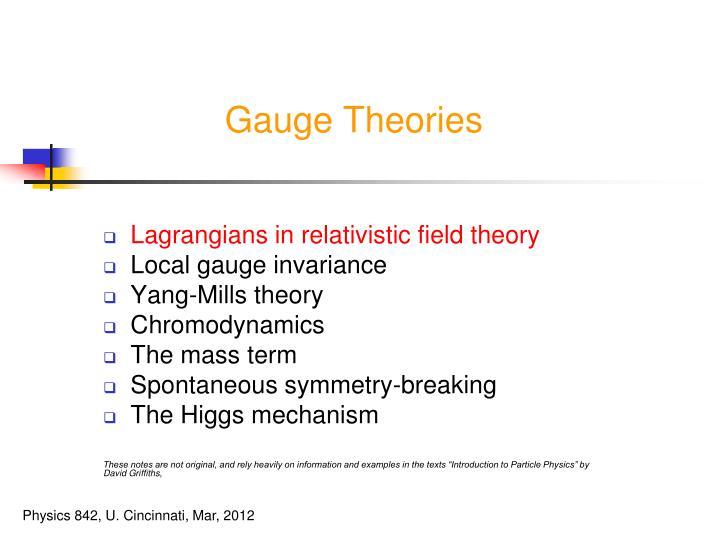 Gauge theories1