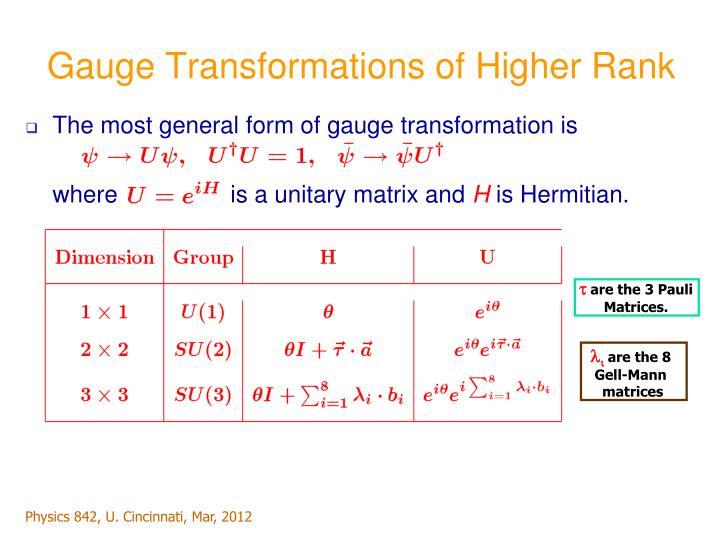 Gauge Transformations of Higher Rank