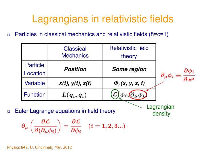 Lagrangians in relativistic fields