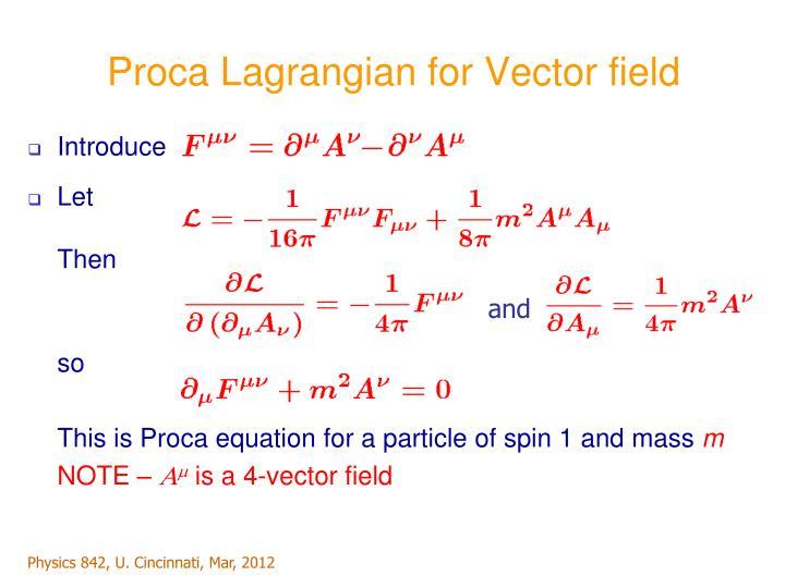 Proca Lagrangian for Vector field