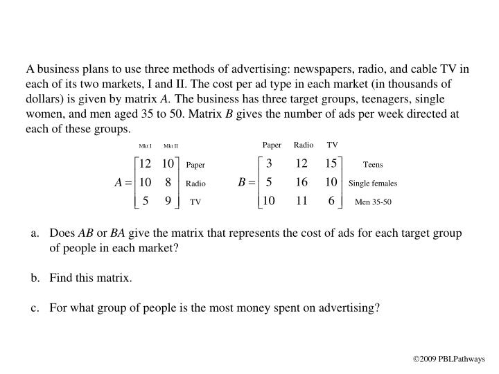 A business plans to use three methods of advertising: newspapers, radio, and cable TV in each of its...