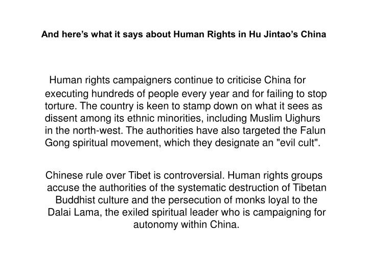 And here's what it says about Human Rights in Hu Jintao's China