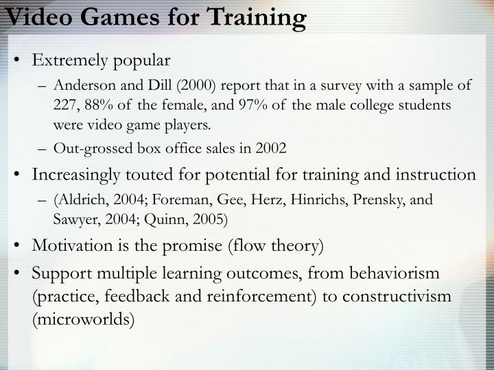 Video Games for Training