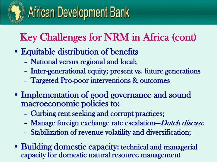 Key Challenges for NRM in Africa (cont)