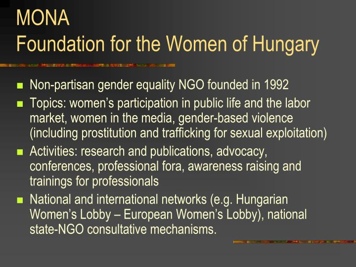 Mona foundation for the women of hungary
