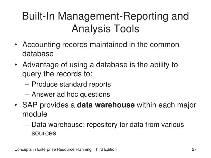Built-In Management-Reporting and Analysis Tools