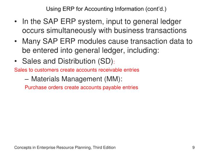 Using ERP for Accounting Information (cont'd.)
