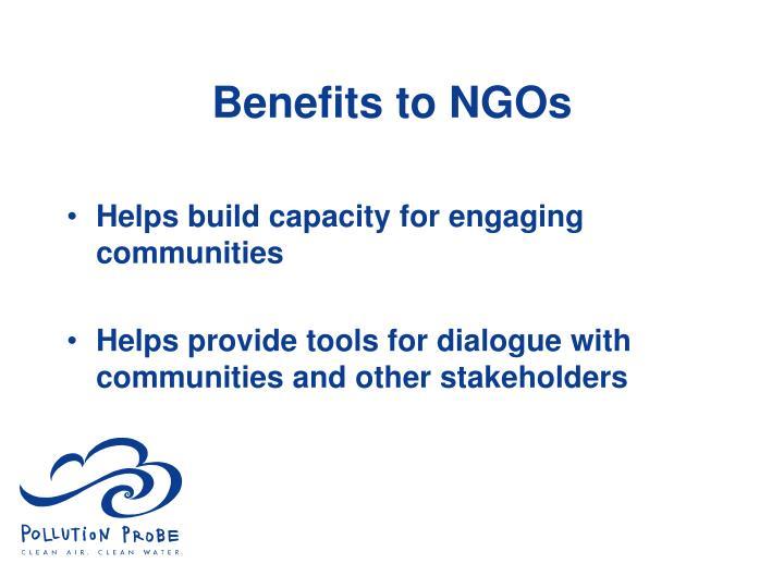 Benefits to NGOs
