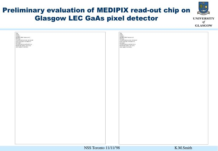 Preliminary evaluation of MEDIPIX read-out chip on Glasgow LEC GaAs pixel detector