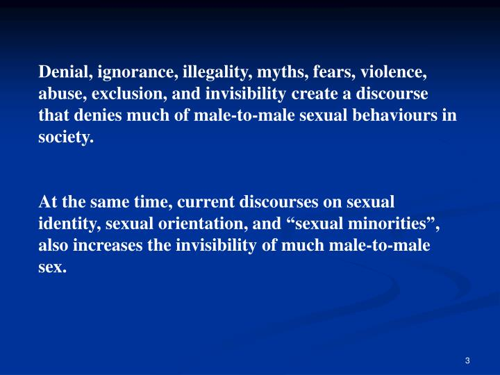 Denial, ignorance, illegality, myths, fears, violence, abuse, exclusion, and invisibility create a d...