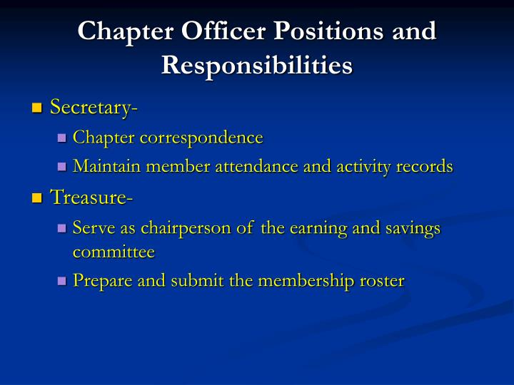 Chapter Officer Positions and Responsibilities