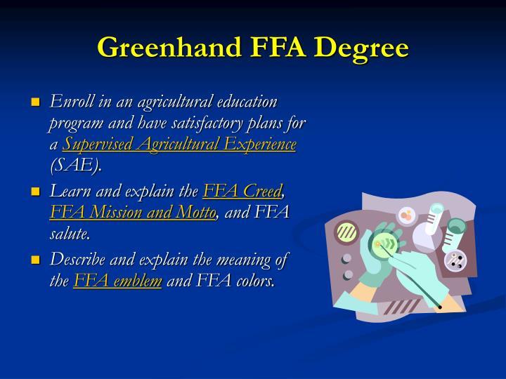Greenhand FFA Degree