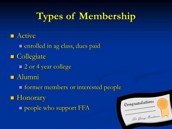 Types of Membership