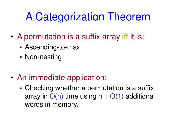 A Categorization Theorem