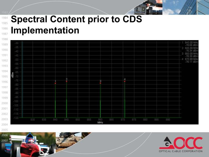 Spectral Content prior to CDS