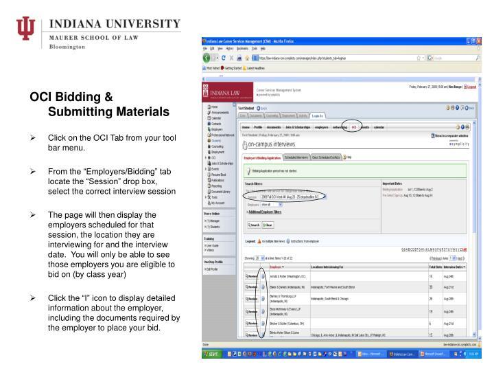 OCI Bidding & Submitting Materials