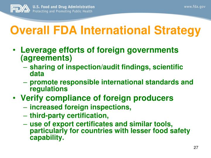 Overall FDA International Strategy