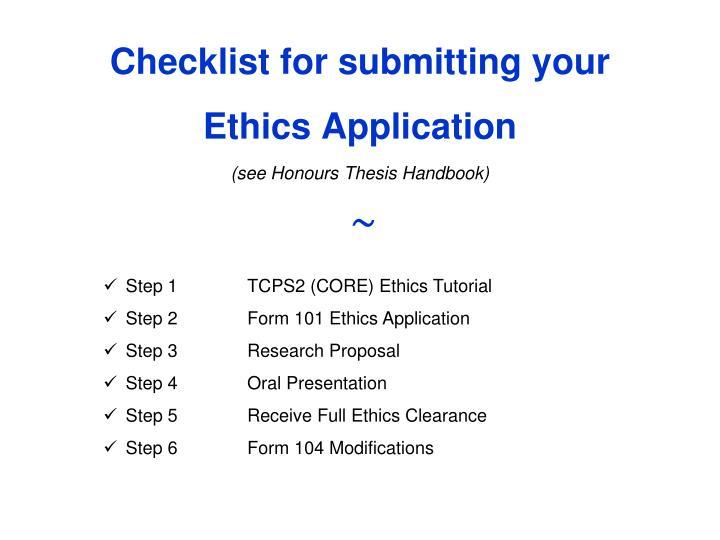 thesis checklist acadia