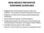 new mexico preventive screening guidelines