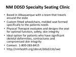 nm ddsd specialty seating clinic