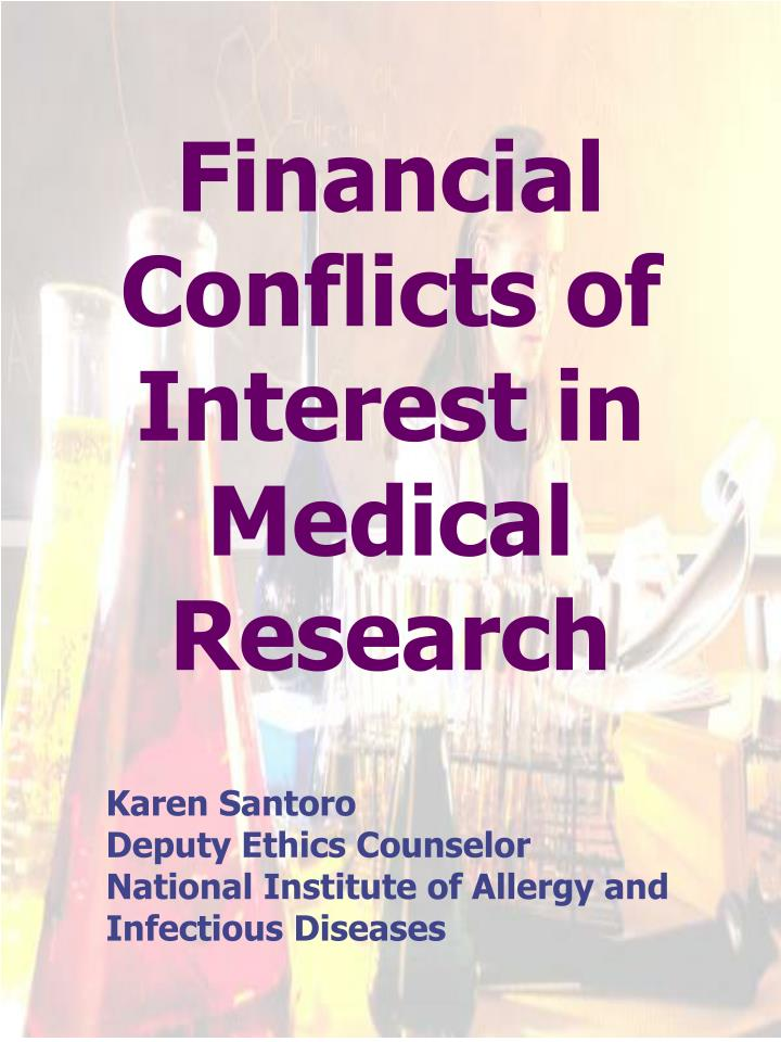 financial conflicts of interest in medical research n.