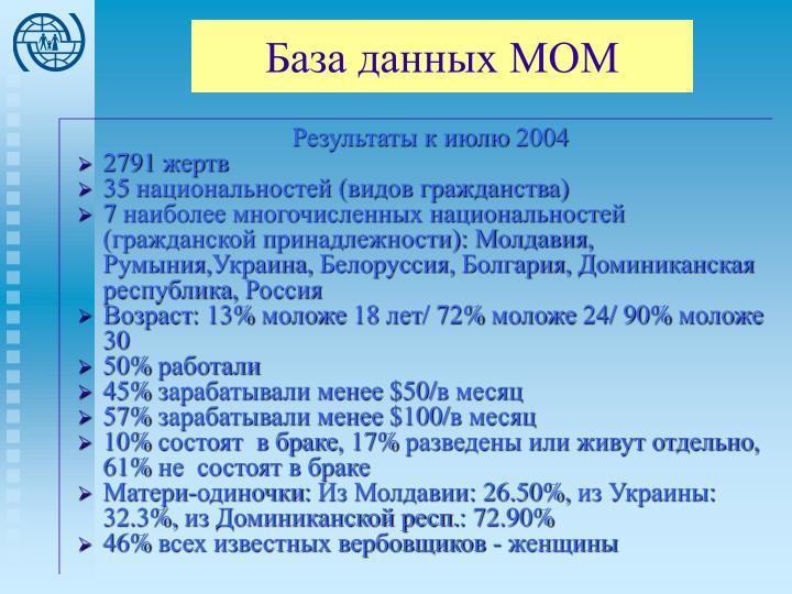 База данных МОМ