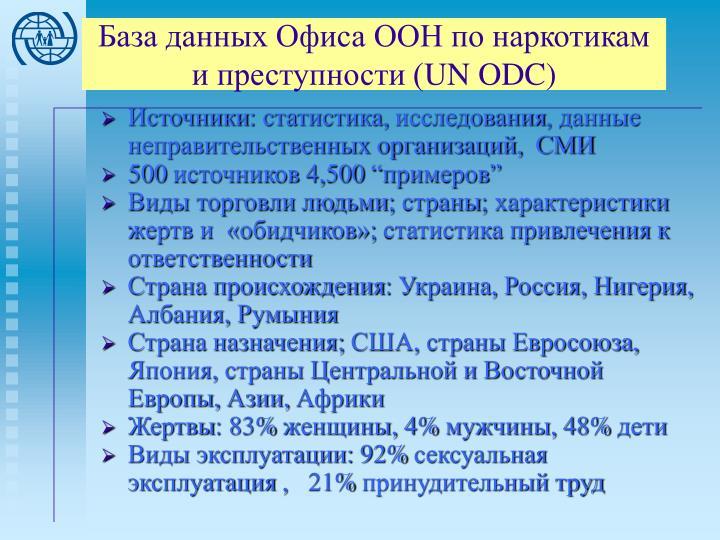 База данных Офиса ООН по наркотикам и преступности (