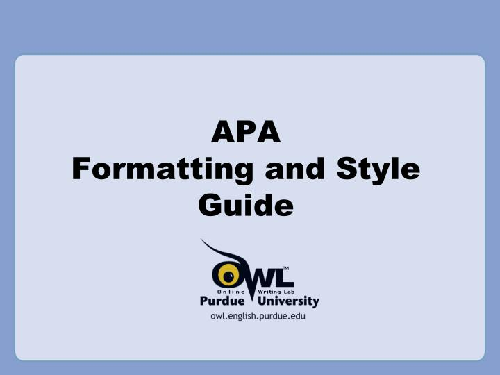 apa formatting and style guide n.