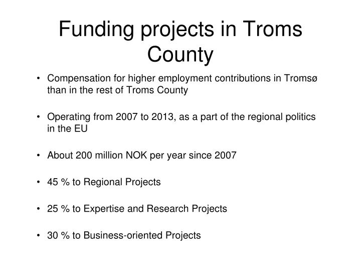 Funding projects in troms county