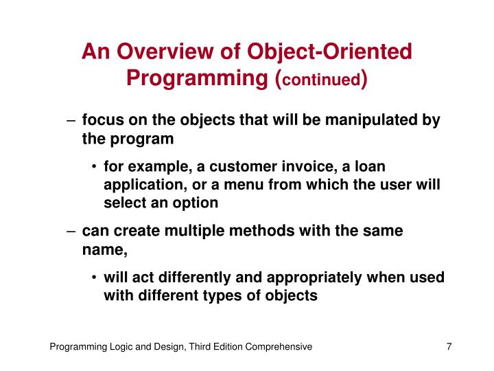 An Overview of Object-Oriented Programming (