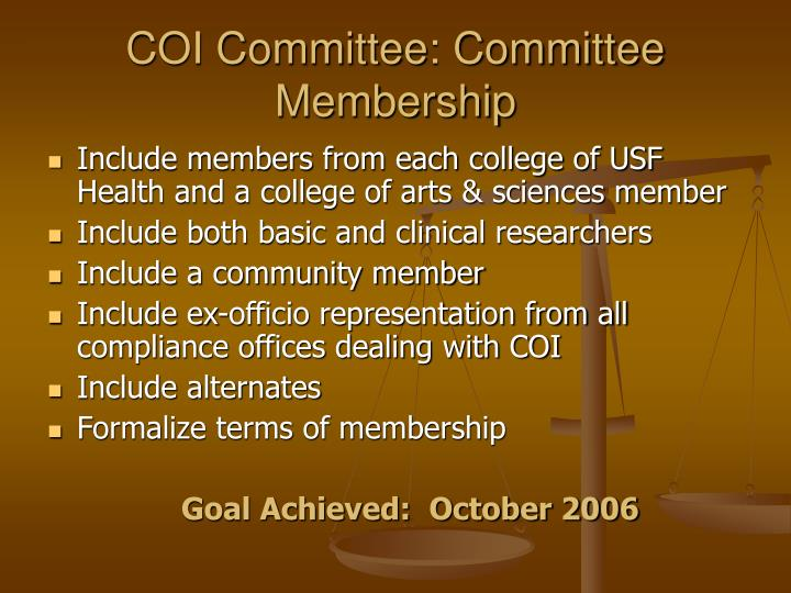 Coi committee committee membership