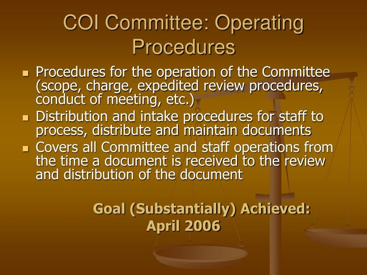 COI Committee: Operating Procedures