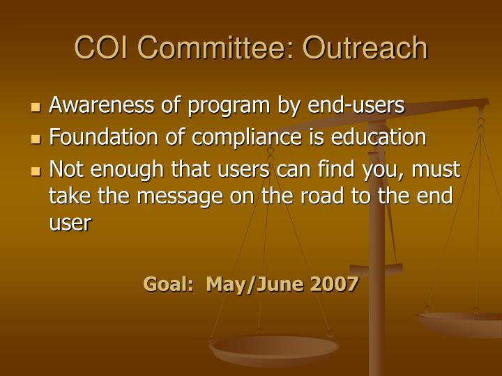 COI Committee: Outreach