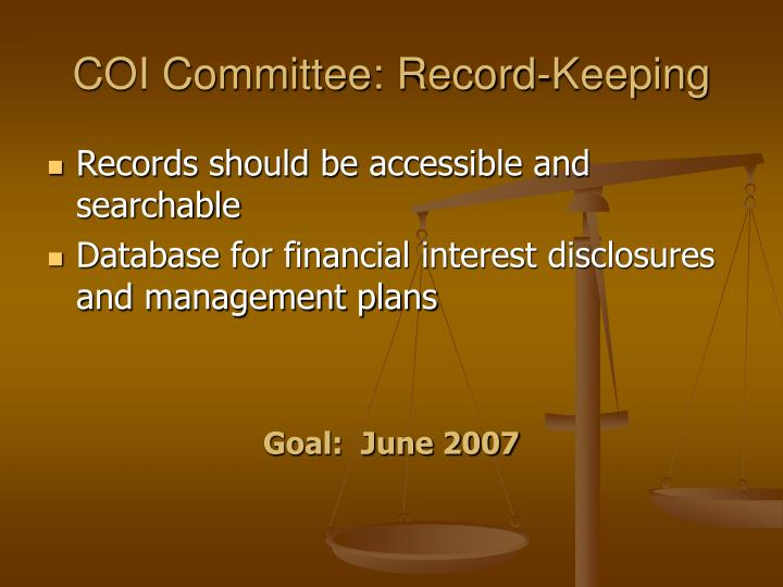 COI Committee: Record-Keeping