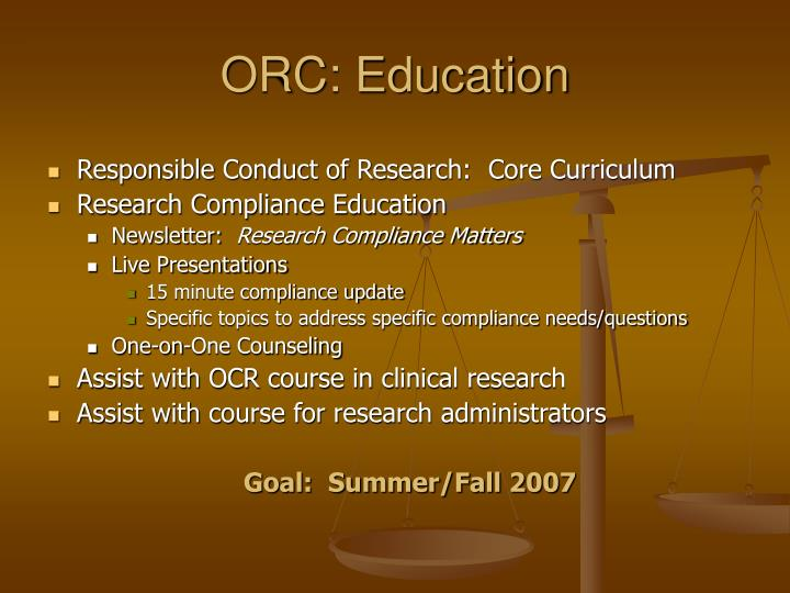 ORC: Education