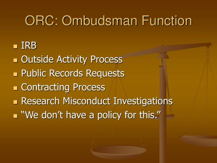 ORC: Ombudsman Function