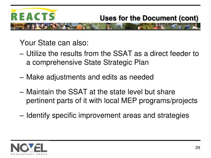 Uses for the Document (cont)