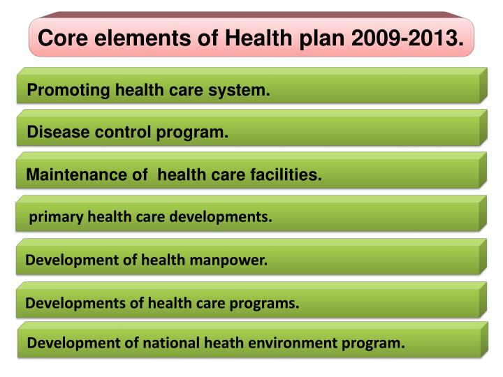 Core elements of Health plan 2009-2013.