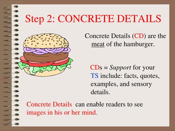 Step 2: CONCRETE DETAILS
