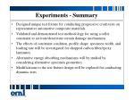 experiments summary