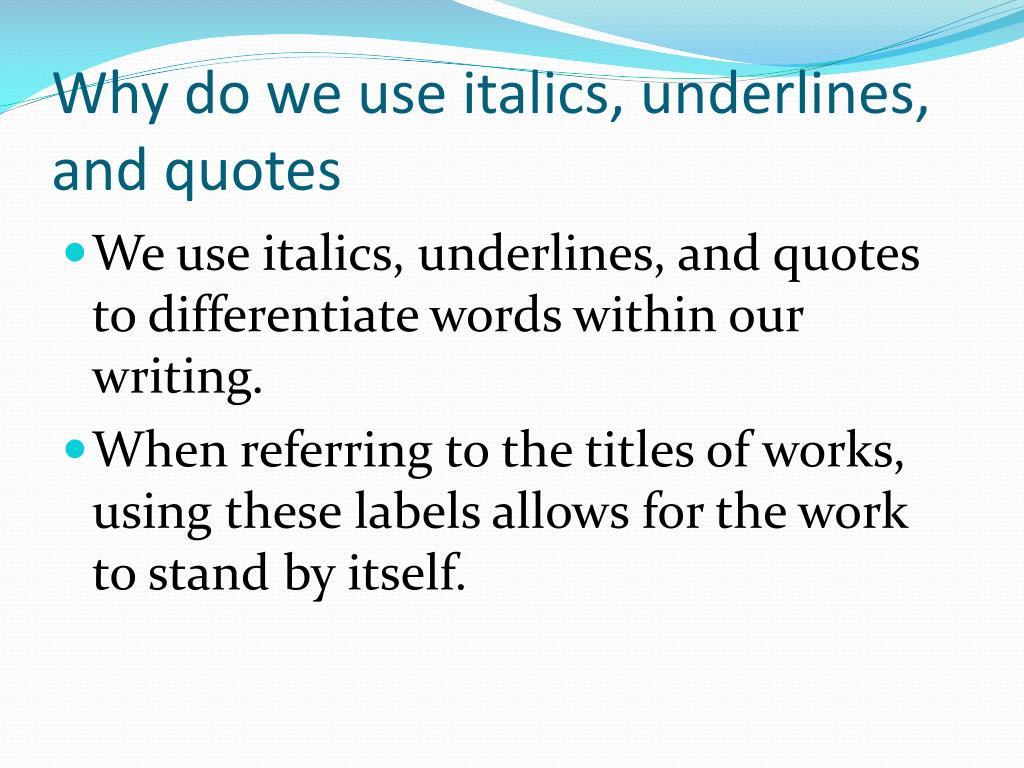 Do u underline movies in an essay