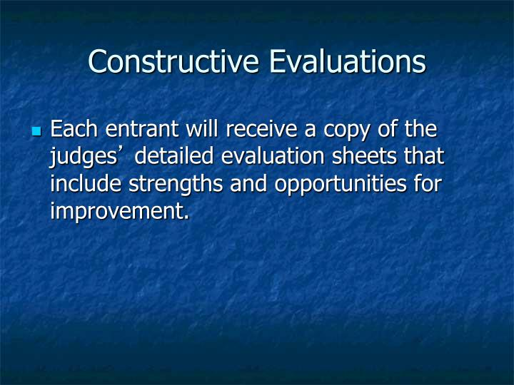 Constructive Evaluations
