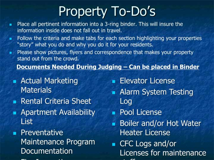 Property To-Do