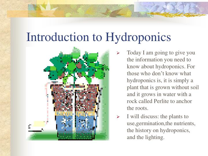 an analysis of hydroponics growing plants without soil Index terms: aeroponics, hydroponics, nutriculture, open field agriculture, soil-less culture ---------- 1 introduction soil is usually the most available growing medium for plants it provides anchorage, nutrients, air, water, etc for successful plant growth[1] however, soils do pose serious limitations for plant growth too, at times.