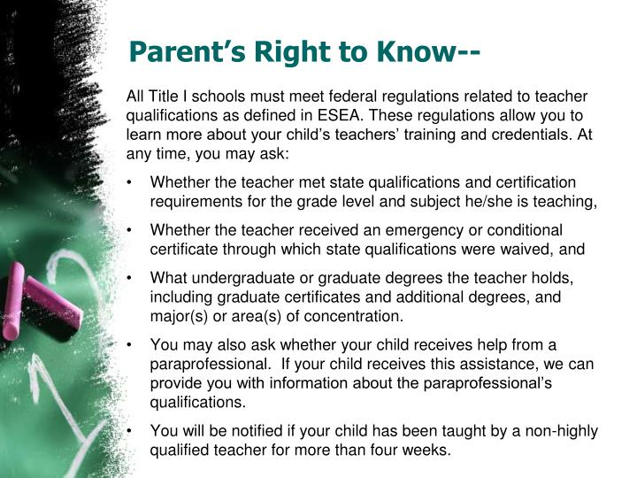 Parent's Right to Know--